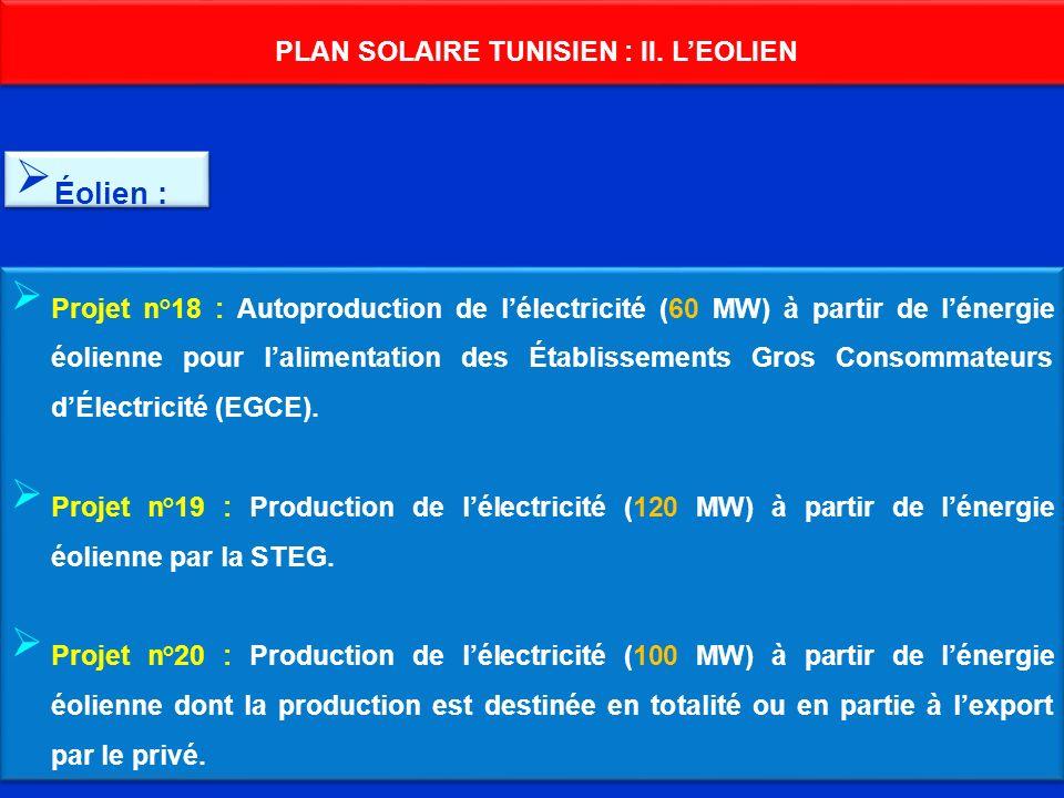 PLAN SOLAIRE TUNISIEN : II. LEOLIEN Projet n°18 : Autoproduction de lélectricité (60 MW) à partir de lénergie éolienne pour lalimentation des Établiss