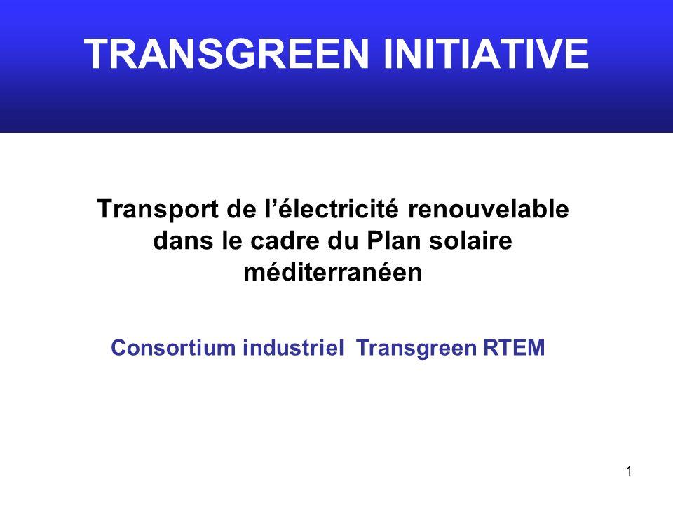 1 TRANSGREEN INITIATIVE Transport de lélectricité renouvelable dans le cadre du Plan solaire méditerranéen Consortium industriel Transgreen RTEM