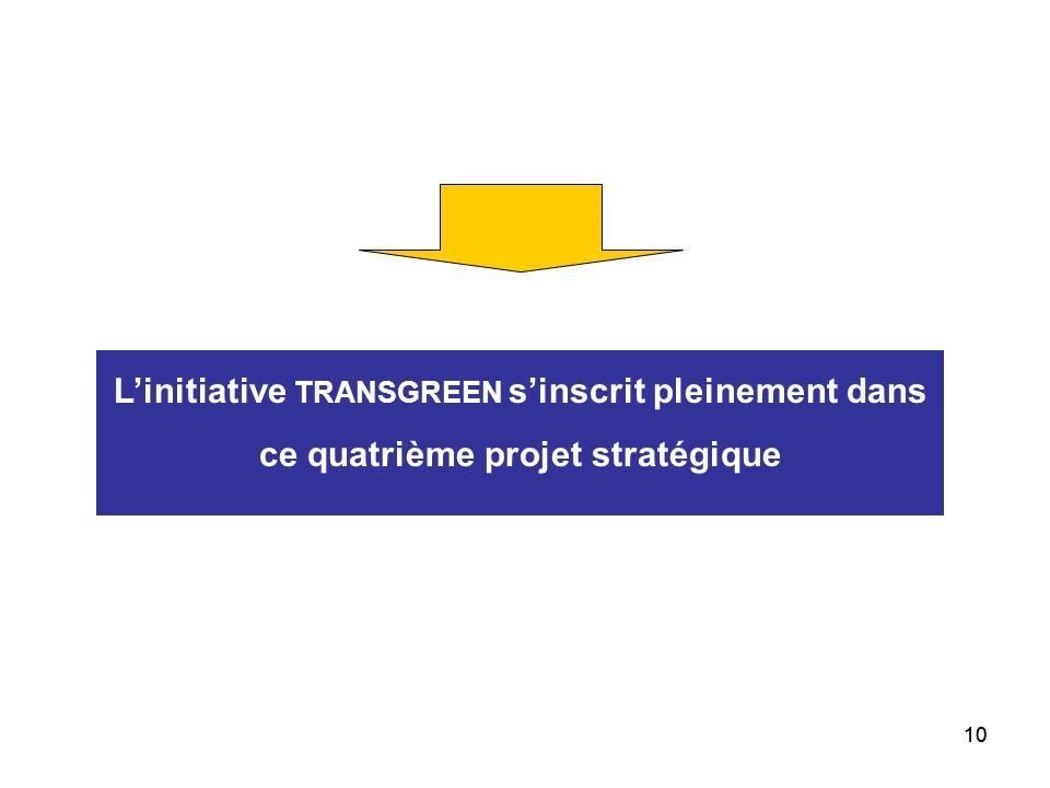 10 Linitiative TRANSGREEN sinscrit pleinement dans ce quatrième projet stratégique