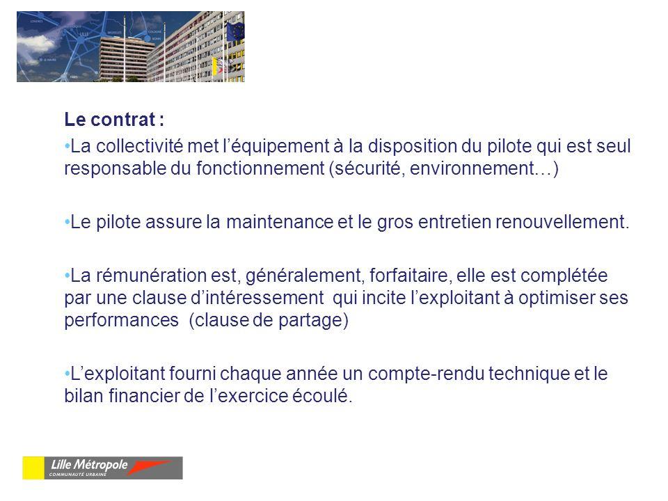 Le contrat : La collectivité met léquipement à la disposition du pilote qui est seul responsable du fonctionnement (sécurité, environnement…) Le pilot