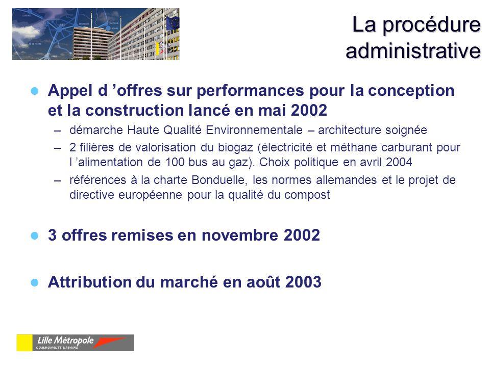 La procédure administrative Appel d offres sur performances pour la conception et la construction lancé en mai 2002 –démarche Haute Qualité Environnem