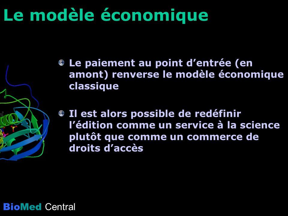 BioMed Central Le modèle économique Le paiement au point dentrée (en amont) renverse le modèle économique classique Il est alors possible de redéfinir lédition comme un service à la science plutôt que comme un commerce de droits daccès