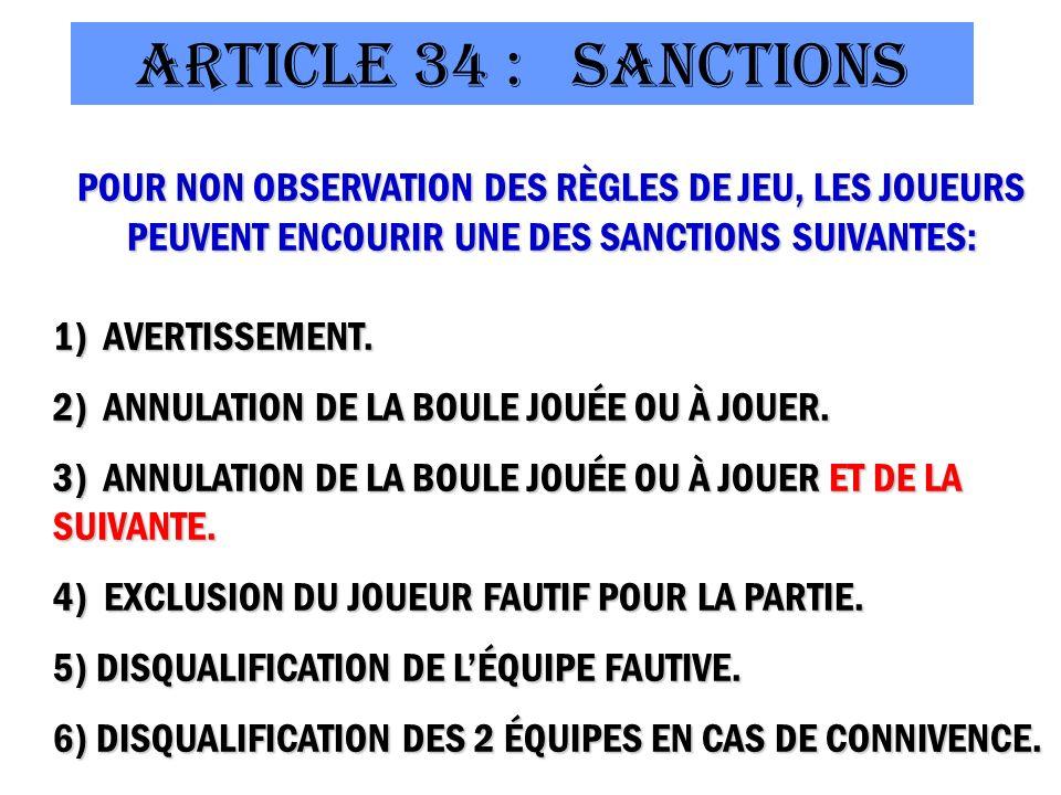 ArtICLE 34 : Sanctions POUR NON OBSERVATION DES RÈGLES DE JEU, LES JOUEURS PEUVENT ENCOURIR UNE DES SANCTIONS SUIVANTES: 1) AVERTISSEMENT.