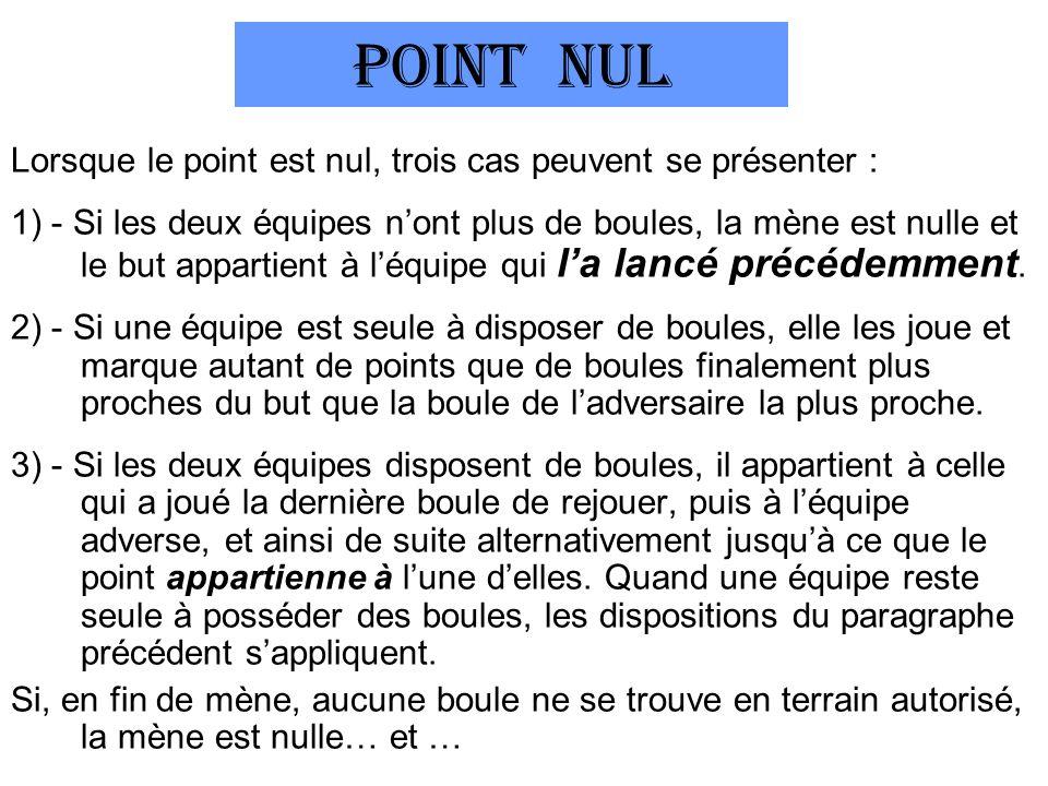 POINT NUL Lorsque le point est nul, trois cas peuvent se présenter : 1) - Si les deux équipes nont plus de boules, la mène est nulle et le but appartient à léquipe qui la lancé précédemment.