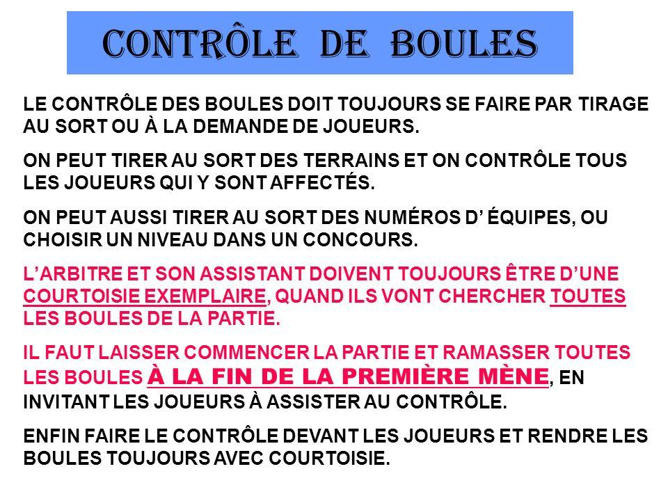 CONTRÔLE DE BOULES LE CONTRÔLE DES BOULES DOIT TOUJOURS SE FAIRE PAR TIRAGE AU SORT OU À LA DEMANDE DE JOUEURS.
