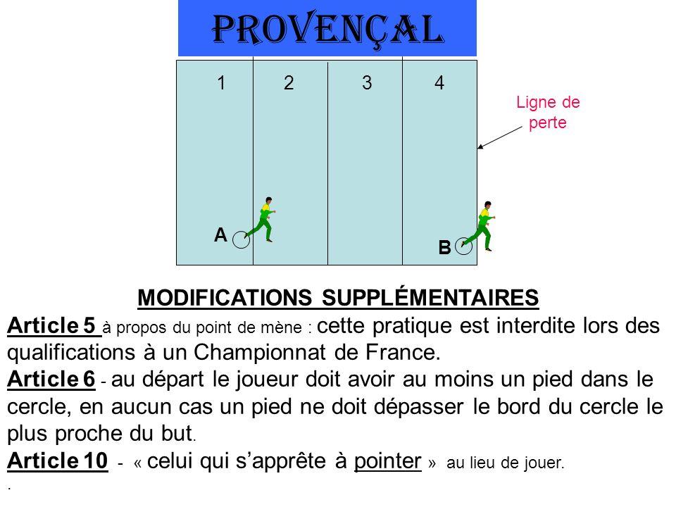 PROVENÇAL A B Ligne de perte 12 3 4 MODIFICATIONS SUPPLÉMENTAIRES Article 5 à propos du point de mène : cette pratique est interdite lors des qualifications à un Championnat de France.