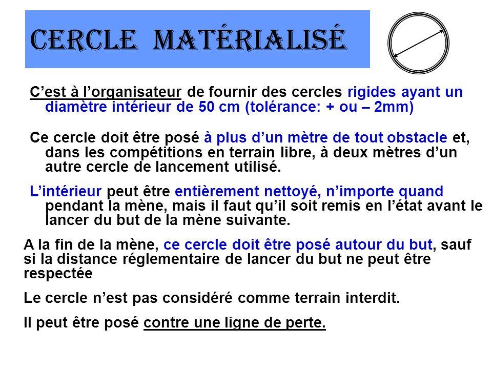 Cercle matérialisé Cest à lorganisateur de fournir des cercles rigides ayant un diamètre intérieur de 50 cm (tolérance: + ou – 2mm) Ce cercle doit être posé à plus dun mètre de tout obstacle et, dans les compétitions en terrain libre, à deux mètres dun autre cercle de lancement utilisé.
