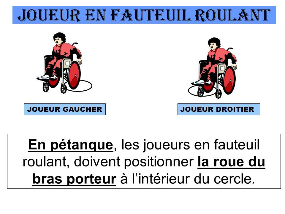 JOUEUR EN Fauteuil roulant En pétanque, les joueurs en fauteuil roulant, doivent positionner la roue du bras porteur à lintérieur du cercle.