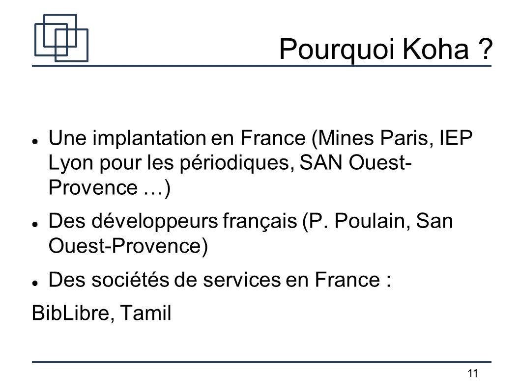 11 Pourquoi Koha ? Une implantation en France (Mines Paris, IEP Lyon pour les périodiques, SAN Ouest- Provence …) Des développeurs français (P. Poulai
