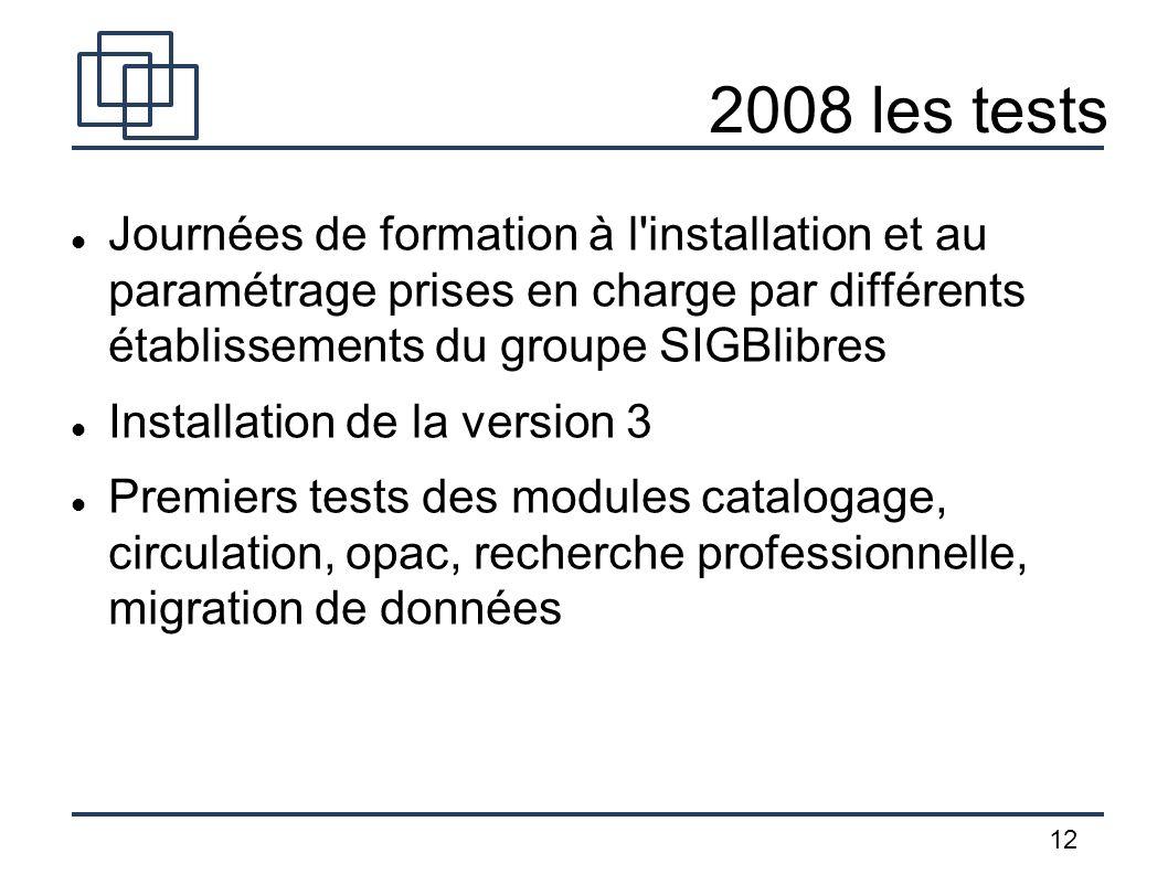 12 2008 les tests Journées de formation à l'installation et au paramétrage prises en charge par différents établissements du groupe SIGBlibres Install