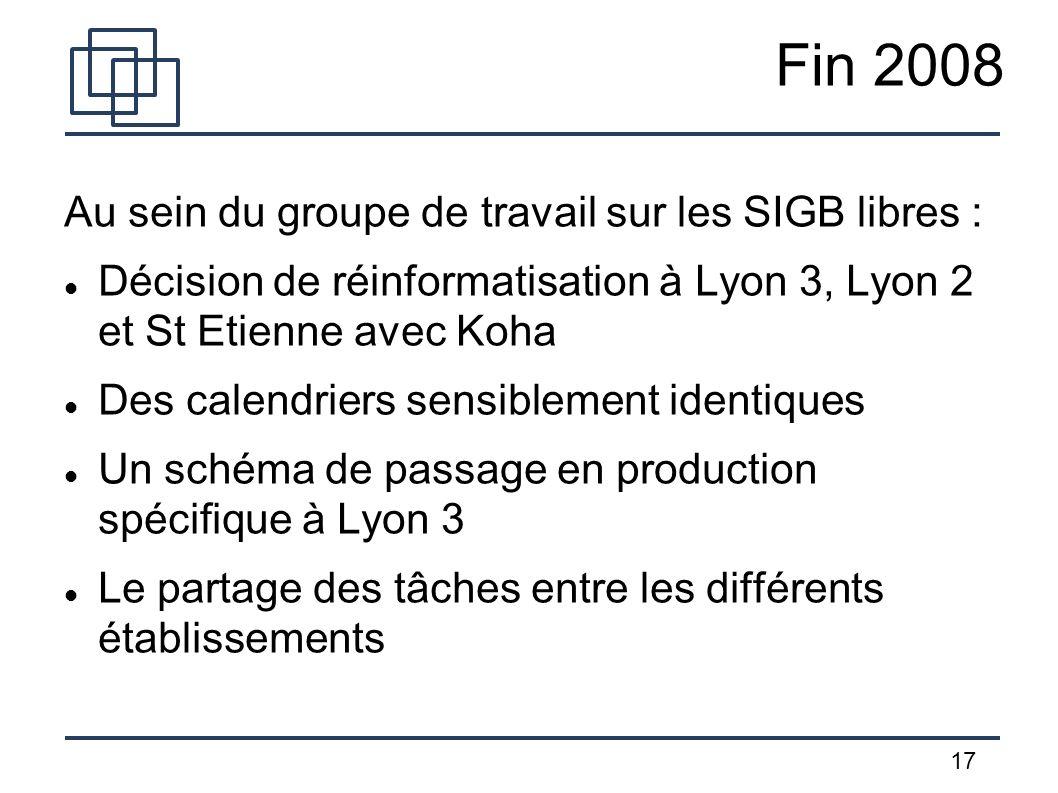 17 Fin 2008 Au sein du groupe de travail sur les SIGB libres : Décision de réinformatisation à Lyon 3, Lyon 2 et St Etienne avec Koha Des calendriers