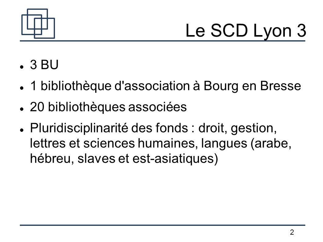 2 Le SCD Lyon 3 3 BU 1 bibliothèque d'association à Bourg en Bresse 20 bibliothèques associées Pluridisciplinarité des fonds : droit, gestion, lettres