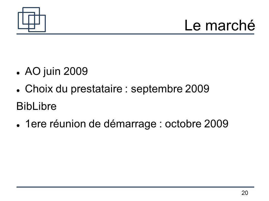 20 Le marché AO juin 2009 Choix du prestataire : septembre 2009 BibLibre 1ere réunion de démarrage : octobre 2009