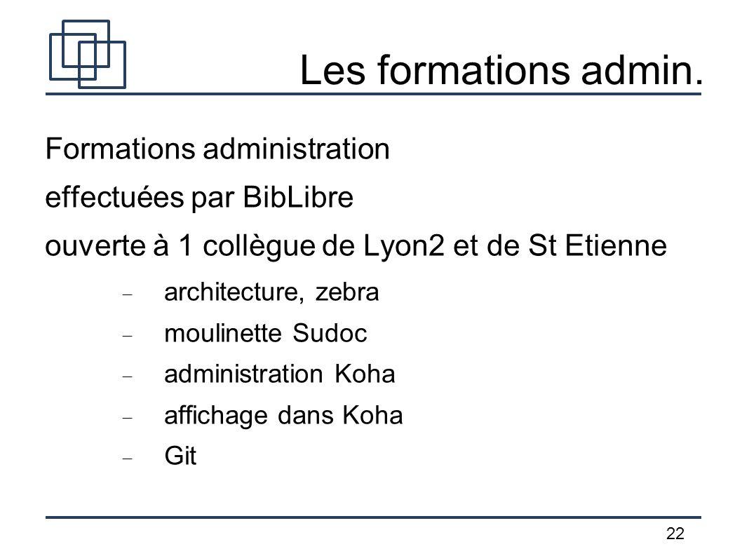 22 Les formations admin. Formations administration effectuées par BibLibre ouverte à 1 collègue de Lyon2 et de St Etienne architecture, zebra moulinet