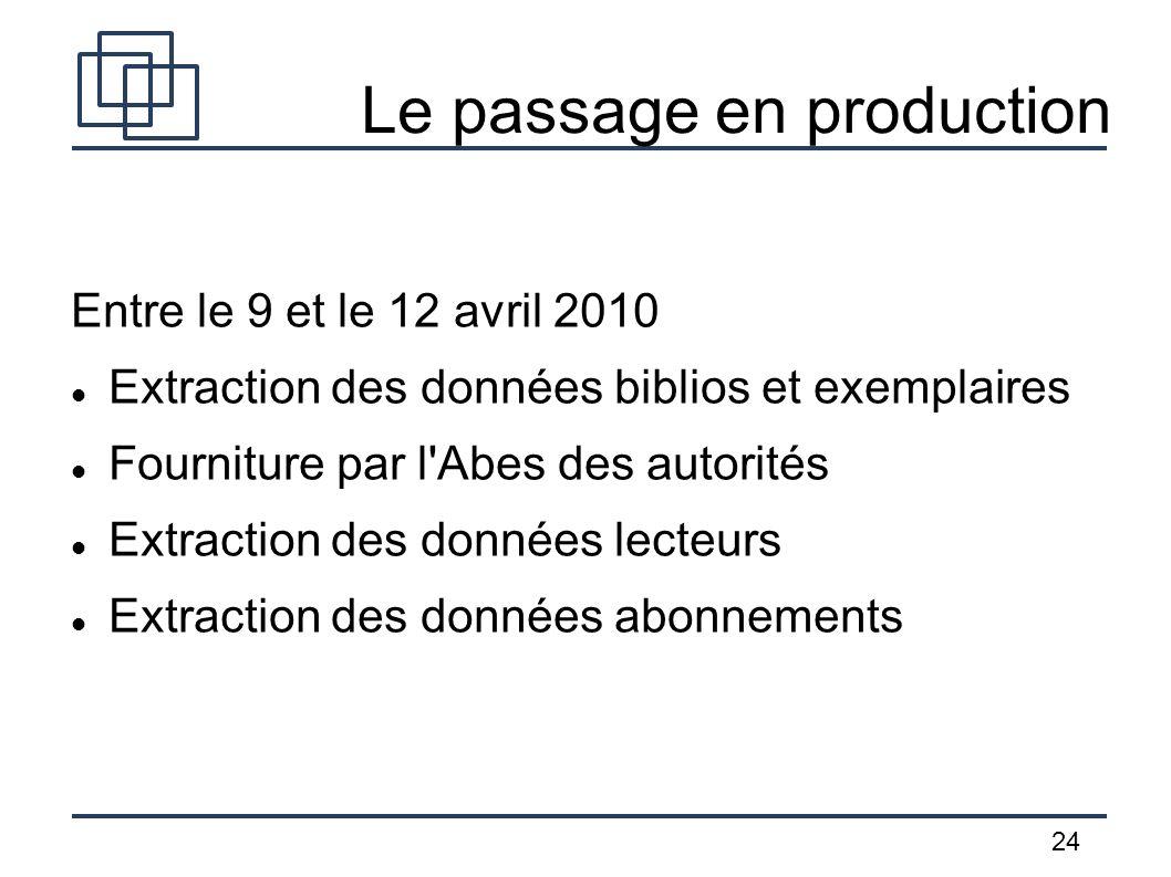 24 Le passage en production Entre le 9 et le 12 avril 2010 Extraction des données biblios et exemplaires Fourniture par l'Abes des autorités Extractio