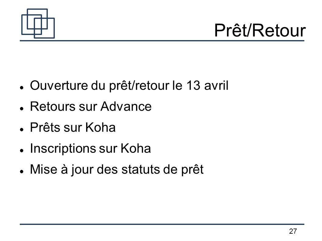 27 Prêt/Retour Ouverture du prêt/retour le 13 avril Retours sur Advance Prêts sur Koha Inscriptions sur Koha Mise à jour des statuts de prêt