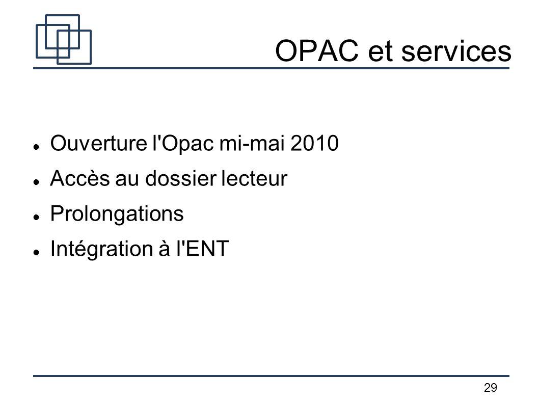 29 OPAC et services Ouverture l'Opac mi-mai 2010 Accès au dossier lecteur Prolongations Intégration à l'ENT