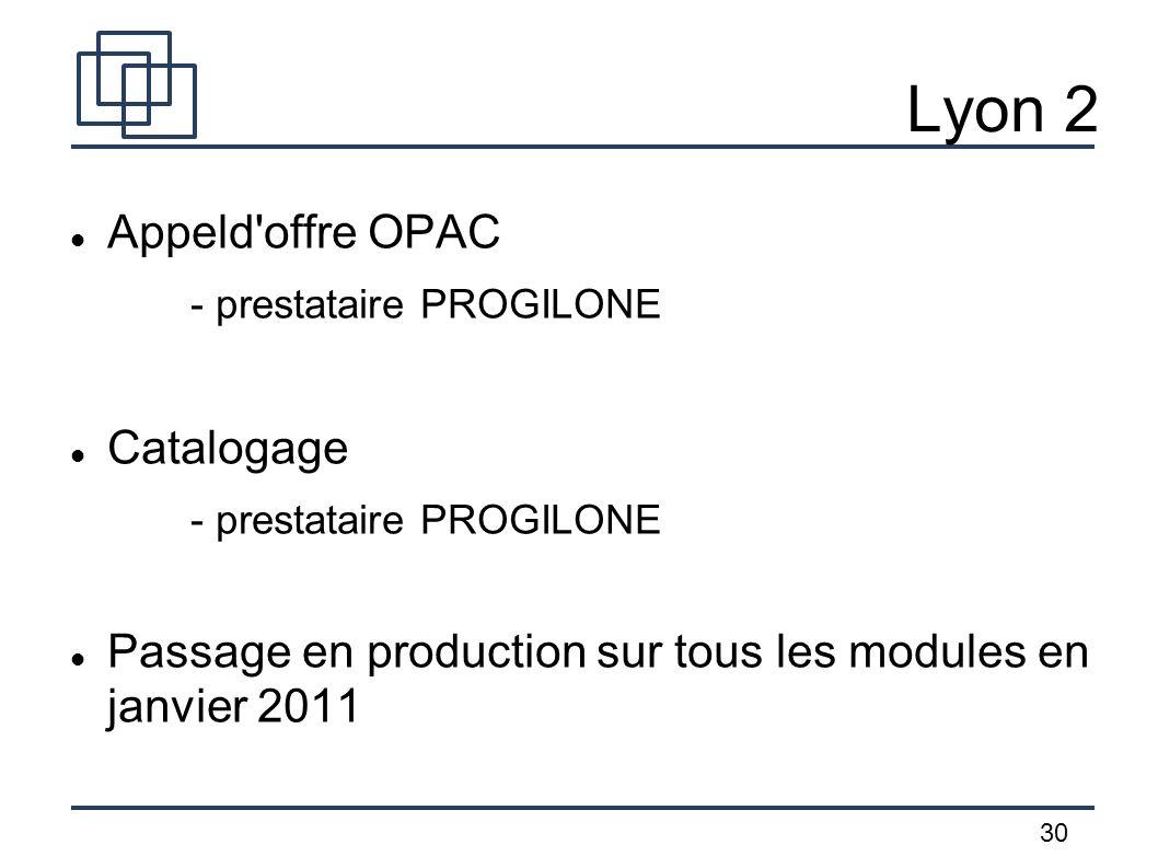 30 Lyon 2 Appeld'offre OPAC - prestataire PROGILONE Catalogage - prestataire PROGILONE Passage en production sur tous les modules en janvier 2011