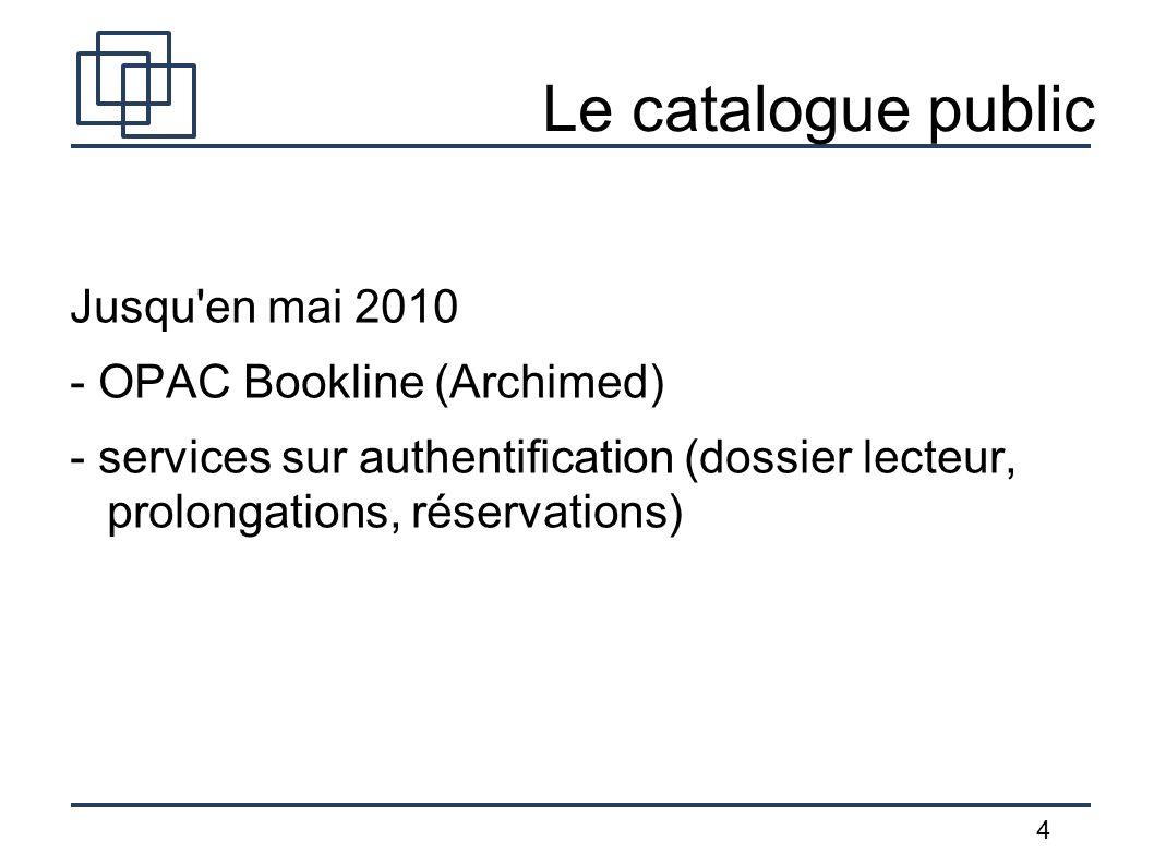 4 Le catalogue public Jusqu'en mai 2010 - OPAC Bookline (Archimed) - services sur authentification (dossier lecteur, prolongations, réservations)