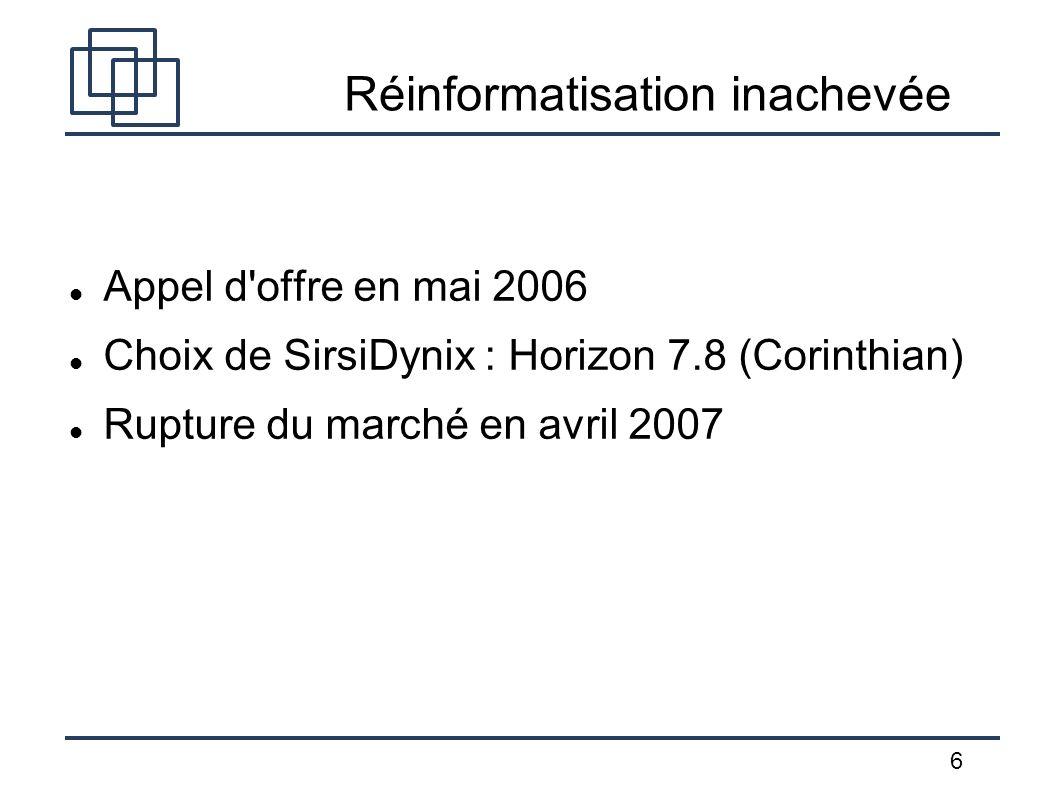 6 Réinformatisation inachevée Appel d'offre en mai 2006 Choix de SirsiDynix : Horizon 7.8 (Corinthian) Rupture du marché en avril 2007