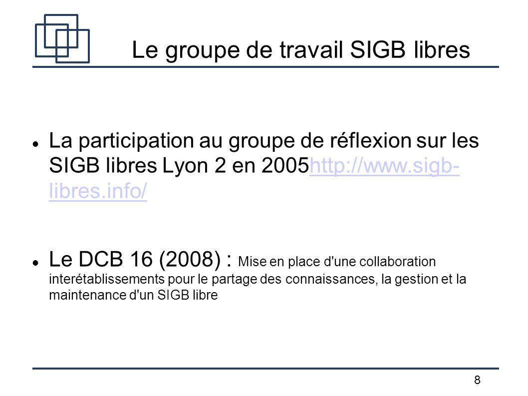 8 Le groupe de travail SIGB libres La participation au groupe de réflexion sur les SIGB libres Lyon 2 en 2005http://www.sigb- libres.info/http://www.s