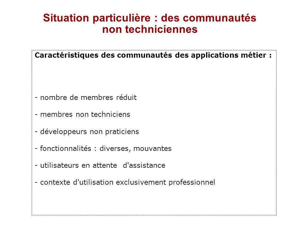 Situation particulière : des communautés non techniciennes Caractéristiques des communautés des applications métier : - nombre de membres réduit - mem