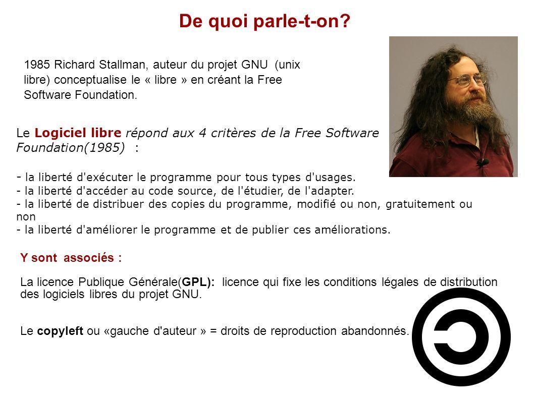 Le Logiciel libre répond aux 4 critères de la Free Software Foundation(1985) : - la liberté d'exécuter le programme pour tous types d'usages. - la lib