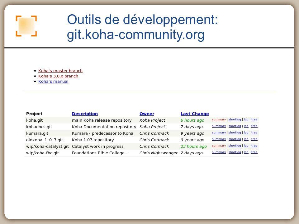 Outils de développement: git.koha-community.org