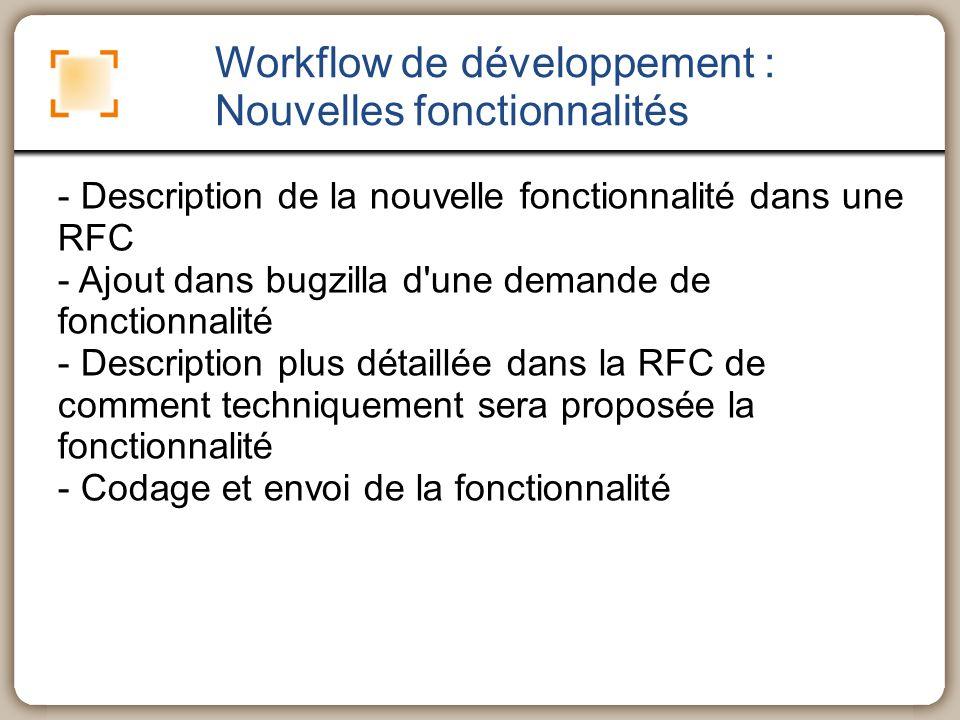 Workflow de développement : Nouvelles fonctionnalités - Description de la nouvelle fonctionnalité dans une RFC - Ajout dans bugzilla d'une demande de