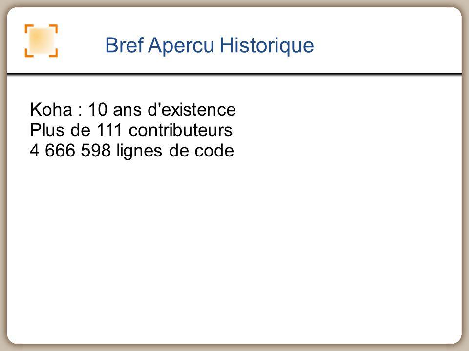 Bref Apercu Historique Koha : 10 ans d'existence Plus de 111 contributeurs 4 666 598 lignes de code