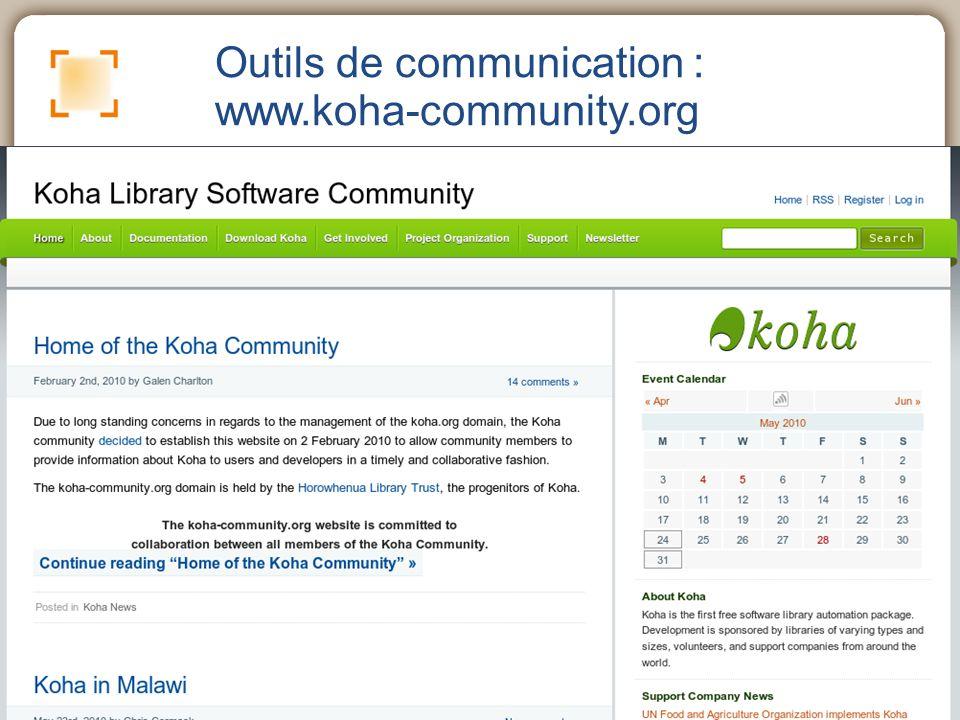 Outils de communication : www.koha-community.org