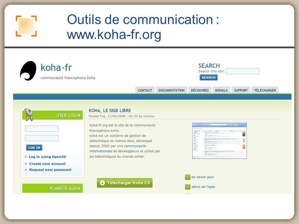 Outils de communication : www.koha-fr.org