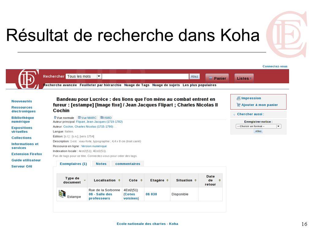 16 Résultat de recherche dans Koha