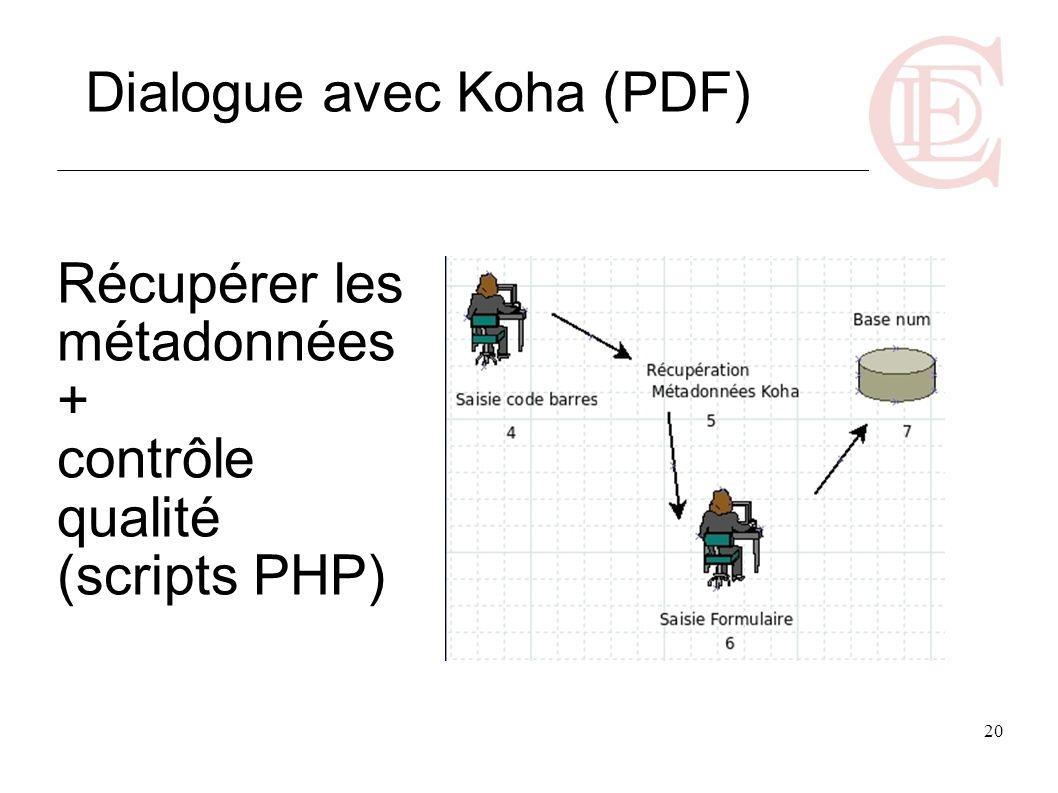 20 Récupérer les métadonnées + contrôle qualité (scripts PHP) Dialogue avec Koha (PDF)