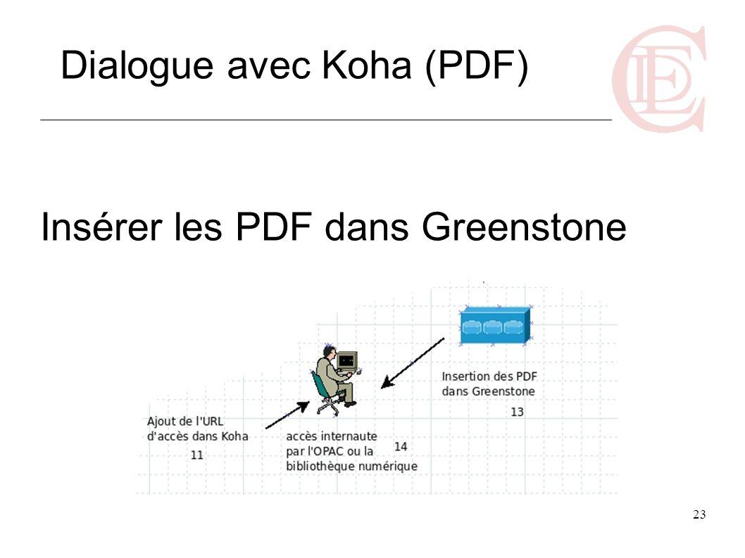 23 Insérer les PDF dans Greenstone Dialogue avec Koha (PDF)