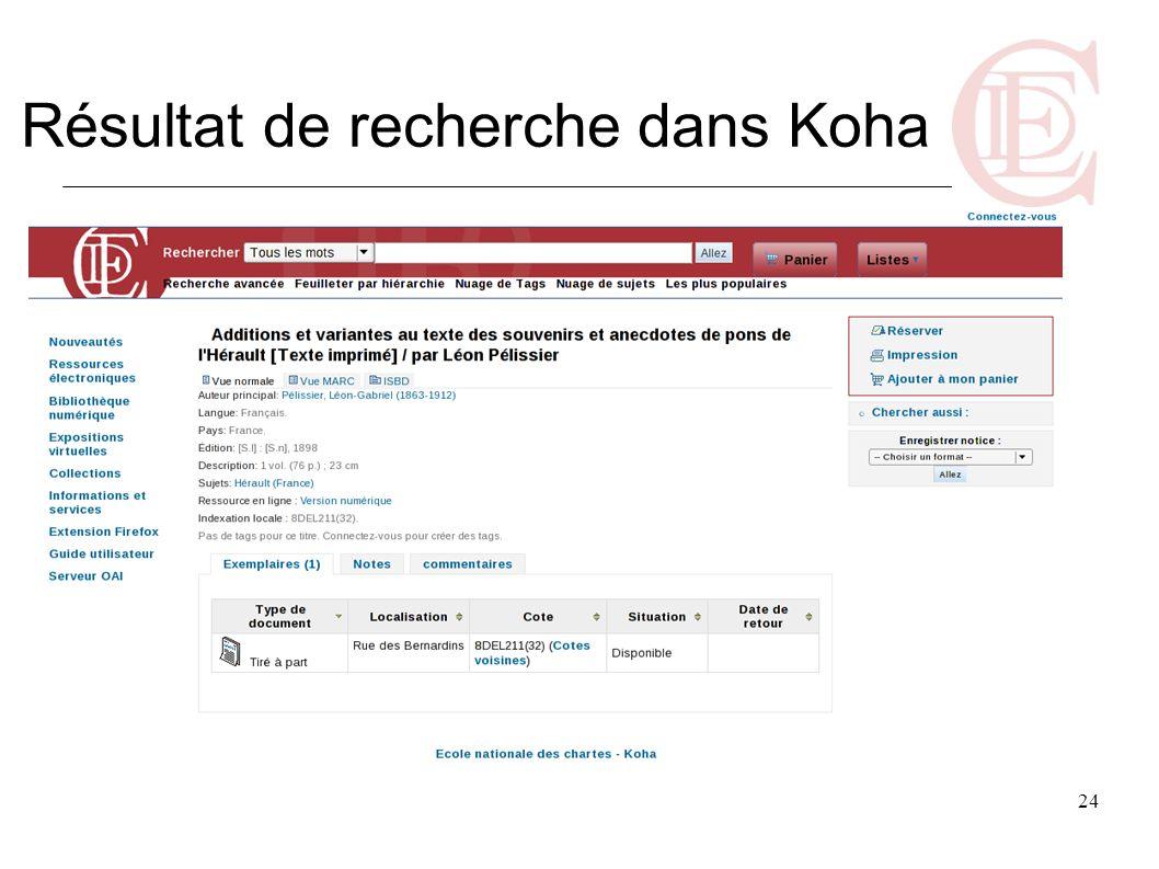 24 Résultat de recherche dans Koha