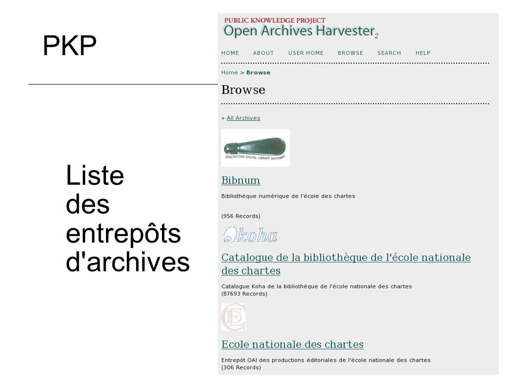 27 Liste des entrepôts d'archives PKP