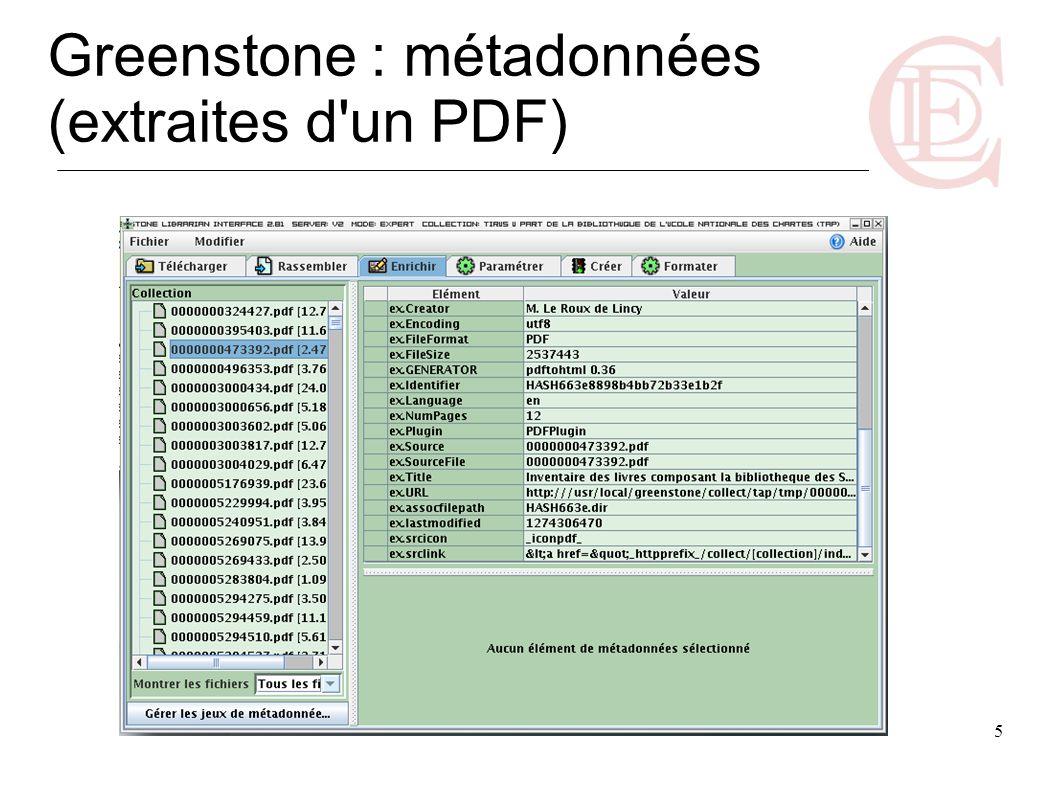 6 Greenstone : métadonnées (MARC converti en Dublin Core)
