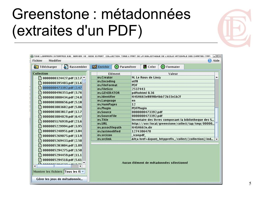 5 Greenstone : métadonnées (extraites d'un PDF)