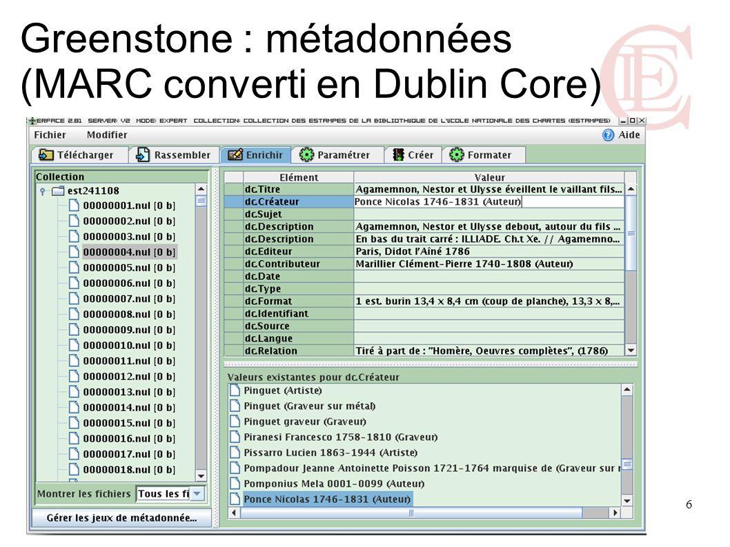 7 Greenstone : configuration