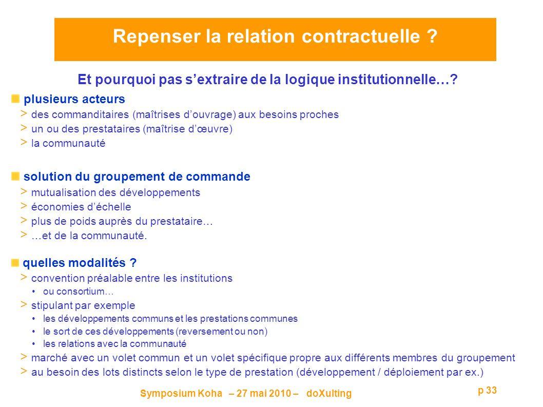 Symposium Koha – 27 mai 2010 – doXulting p 33 Et pourquoi pas sextraire de la logique institutionnelle….