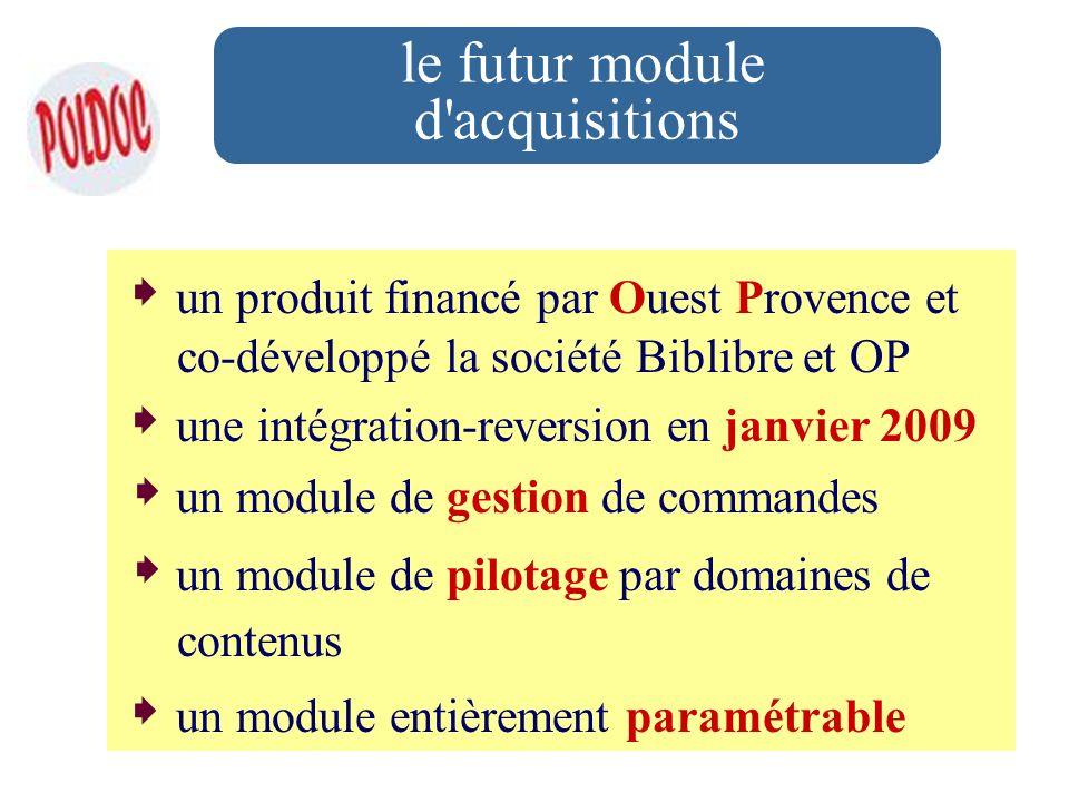 le futur module d'acquisitions un produit financé par Ouest Provence et co-développé la société Biblibre et OP une intégration-reversion en janvier 20