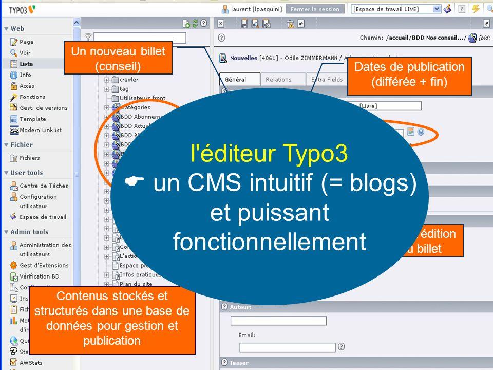 Contenus stockés et structurés dans une base de données pour gestion et publication Un nouveau billet (conseil) Dates de publication (différée + fin) Date d édition du billet l éditeur Typo3 un CMS intuitif (= blogs) et puissant fonctionnellement