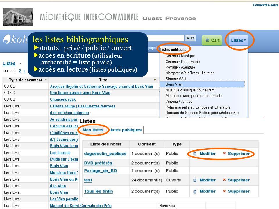 les listes bibliographiques statuts : privé / public / ouvert accès en écriture (utilisateur authentifié = liste privée) accès en lecture (listes publiques)