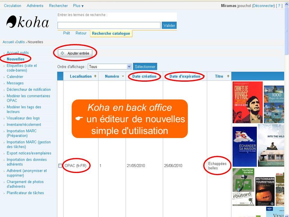 Koha en back office un éditeur de nouvelles simple d'utilisation