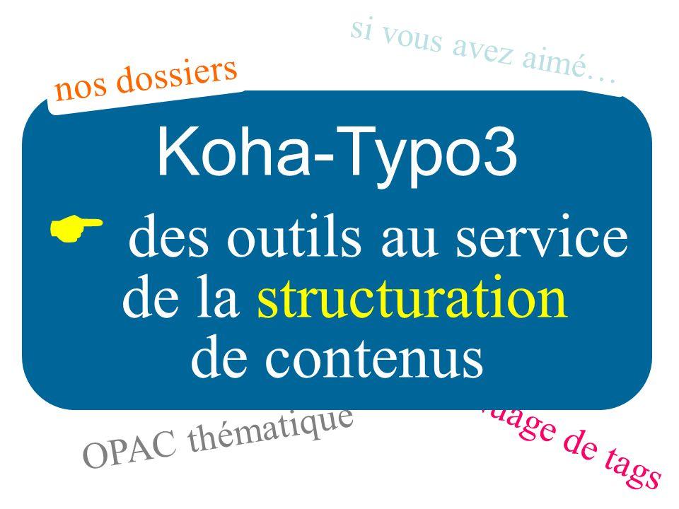 Nuage de tags OPAC thématique Koha-Typo3 des outils au service de la structuration de contenus si vous avez aimé… nos dossiers