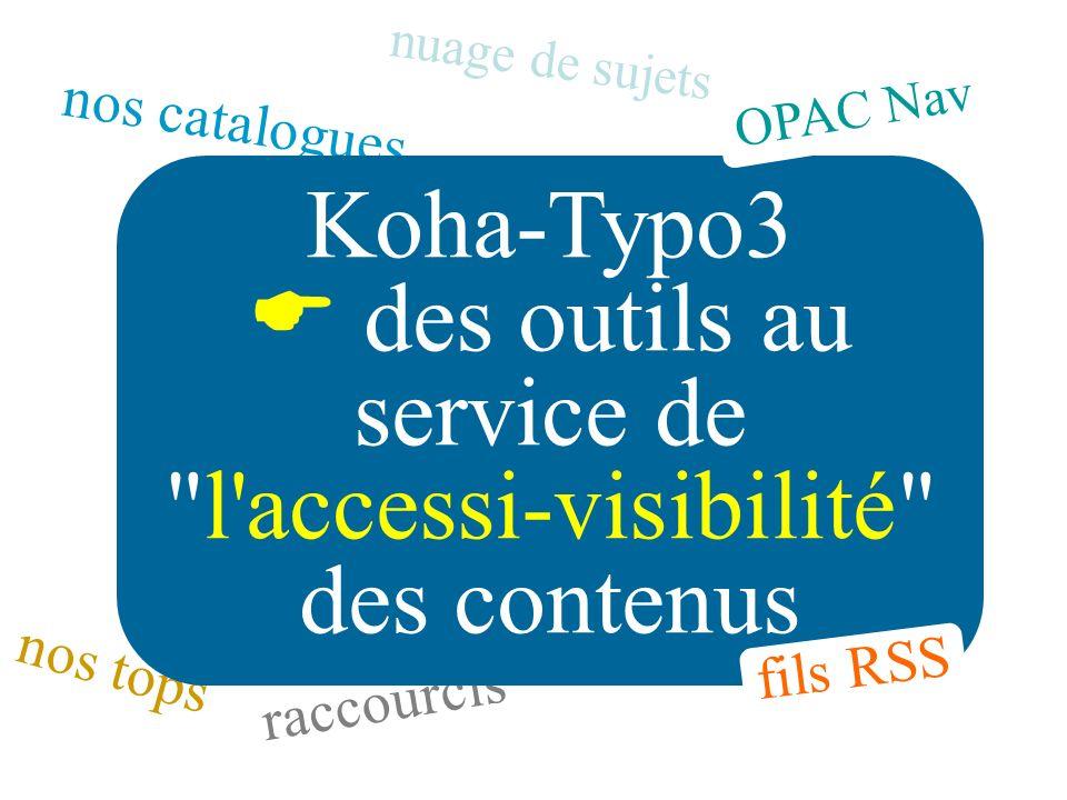 nos catalogues nos tops raccourcis Koha-Typo3 des outils au service de l accessi-visibilité des contenus nuage de sujets fils RSS OPAC Nav