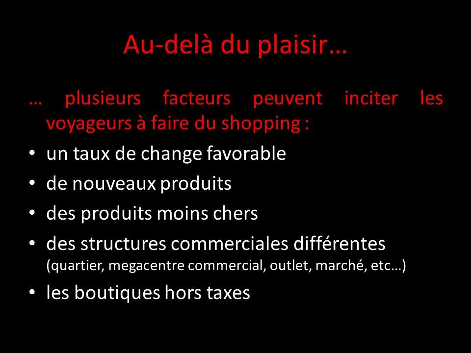 Au-delà du plaisir… … plusieurs facteurs peuvent inciter les voyageurs à faire du shopping : un taux de change favorable de nouveaux produits des prod