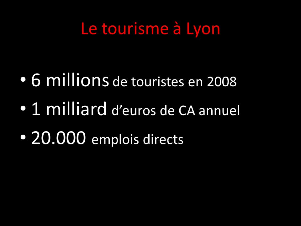Le tourisme à Lyon 6 millions de touristes en 2008 1 milliard deuros de CA annuel 20.000 emplois directs