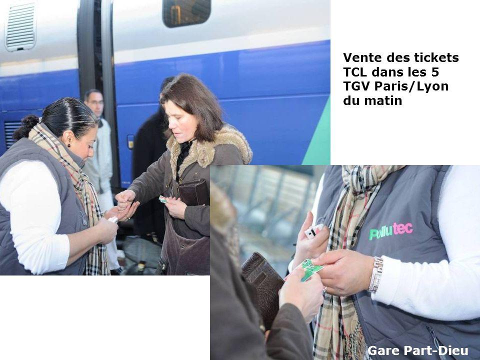 Vente des tickets TCL dans les 5 TGV Paris/Lyon du matin Gare Part-Dieu
